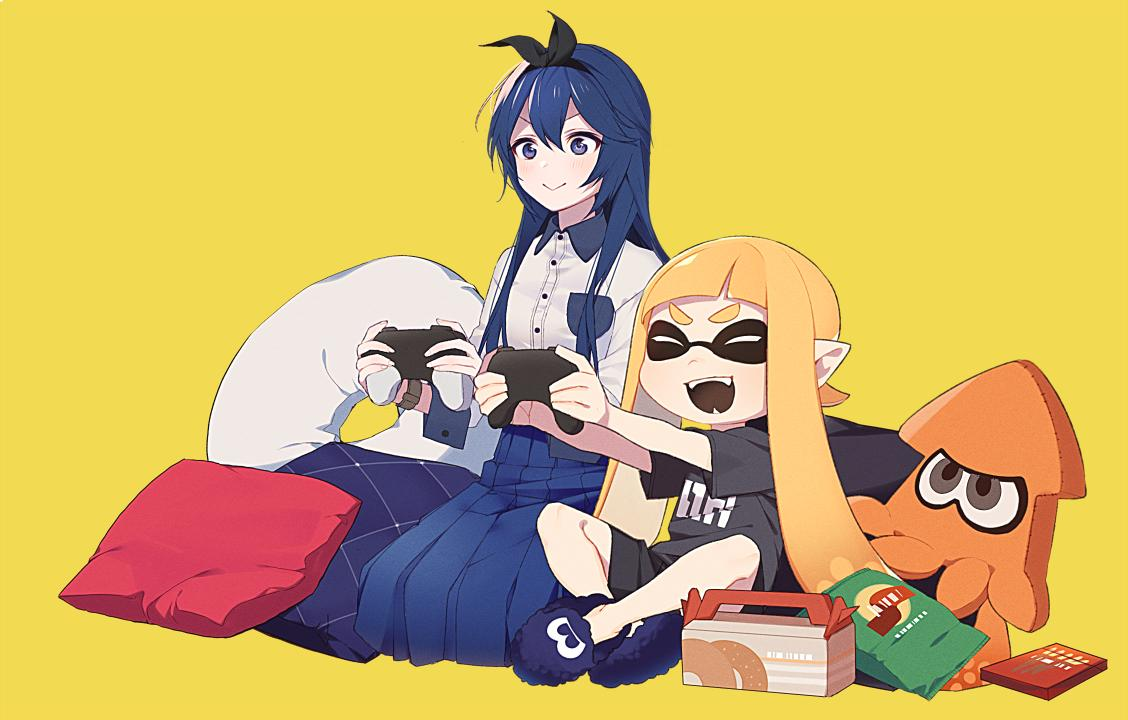 2girls bangs blue_eyes blue_hair blush bow controller dairantou!_smash_brothers_special domino_mask fang fangs fire_emblem fire_emblem:_kakusei hair_between_eyes inkling intelligent_systems long_hair long_skirt long_sleeves lucina mask multiple_girls nintendo nintendo_ead open_mouth pointy_ears ryon_(ryonhei) shorts simple_background skirt smile splatoon splatoon_(series) splatoon_1 squid super_smash_bros. super_smash_bros._ultimate tentacle_hair
