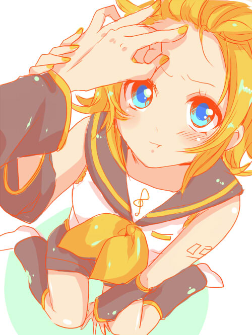 >:t 1girl :t annoyed arm_tattoo bare_shoulders between_legs blonde_hair blue_eyes blush bow brother_and_sister closed_mouth detached_sleeves forehead foreshortening hair_bow hair_ornament hairclip hand_between_legs hand_on_another's_head headphones headset kagamine_len kagamine_rin leg_warmers looking_at_viewer number_tattoo out_of_frame poking pout puffy_cheeks sailor_collar setora short_hair shorts siblings sitting solo_focus tattoo teasing treble_clef twins v-shaped_eyebrows vocaloid wariza wavy_eyebrows wrist_grab