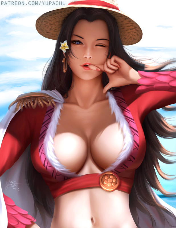 1girl ;o biting black_hair blue_eyes blue_sky blush boa_hancock breasts cleavage clouds collarbone earrings feather_boa finger_biting finger_to_mouth jewelry large_breasts long_hair looking_at_viewer midriff navel one_eye_closed one_piece sky snake snake_earrings solo very_long_hair yupachu