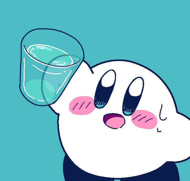 amedama_(akaki_4207) aqua_background blue_eyes blush cup hal_laboratory_inc. holding holding_cup hoshi_no_kirby kirby kirby_(series) liquid looking_at_viewer nintendo no_humans open_mouth pink_puff_ball simple_background smile sweatdrop