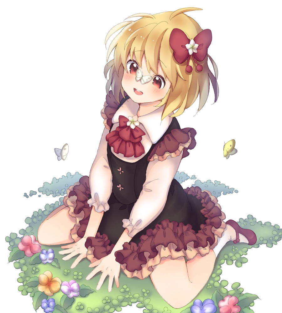 1girl ahoge between_legs black_skirt black_vest blonde_hair blush buck_teeth bug butterfly butterfly_on_nose clover commentary_request cravat cross-eyed embellished_costume flower four-leaf_clover frilled_skirt frills hair_flower hair_ornament hair_ribbon hand_between_legs hands_on_ground insect layered_skirt long_sleeves looking_down mary_janes memeo_(user_cxsu7473) messy_hair on_grass on_ground open_mouth red_eyes red_footwear red_neckwear ribbon rumia shirt shoes short_hair simple_background sitting skirt socks solo touhou vest wariza white_background white_legwear white_shirt