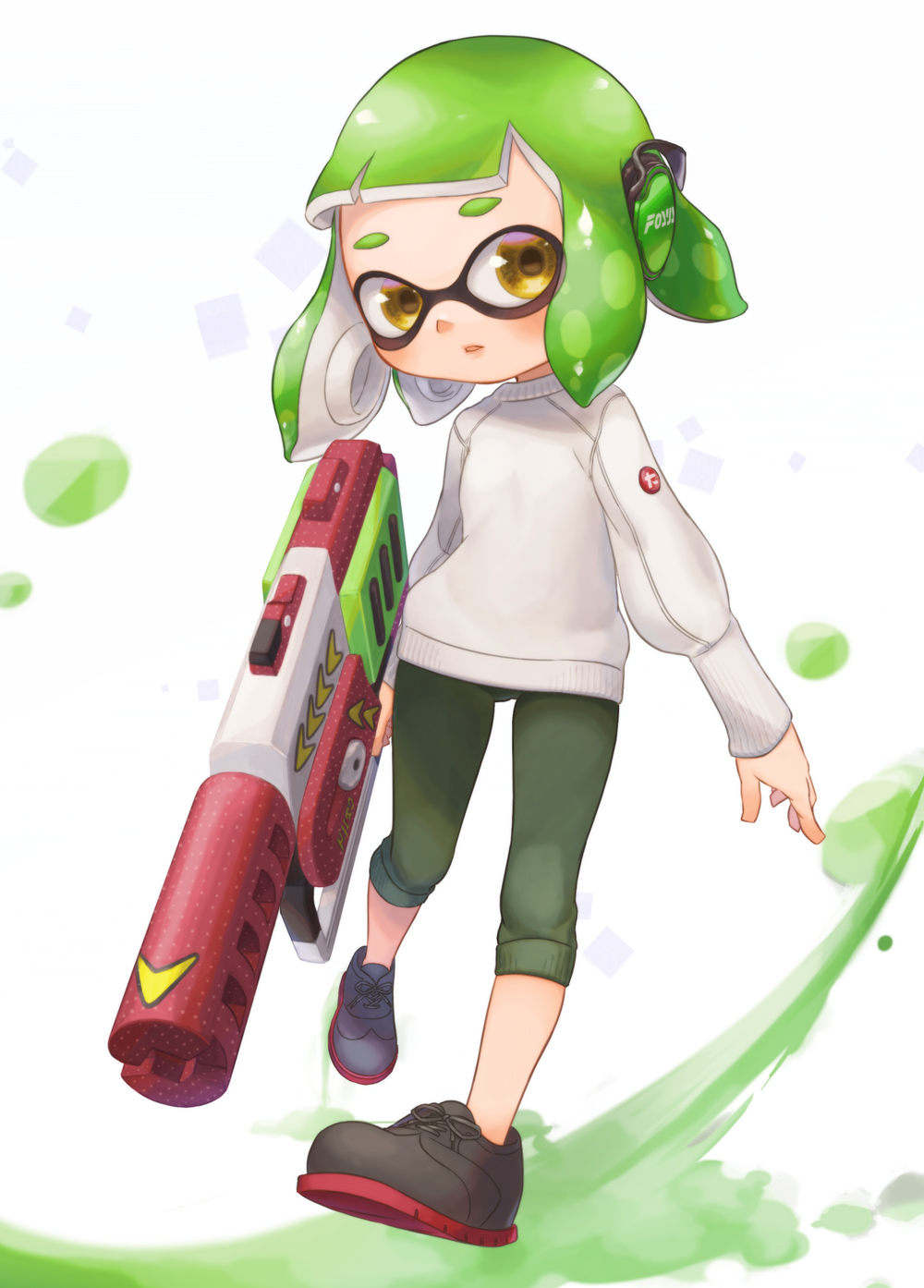 1girl capri_pants domino_mask full_body green_hair green_pants grey_footwear headphones highres holding inkling leg_up legs_apart long_sleeves looking_away looking_to_the_side mask open_mouth pants rapid_blaster_pro_(splatoon) shoelaces shoes short_hair solo splatoon splatoon_(series) splatoon_2 suction_cups suzuhiro sweater tentacle_hair white_sweater yellow_eyes