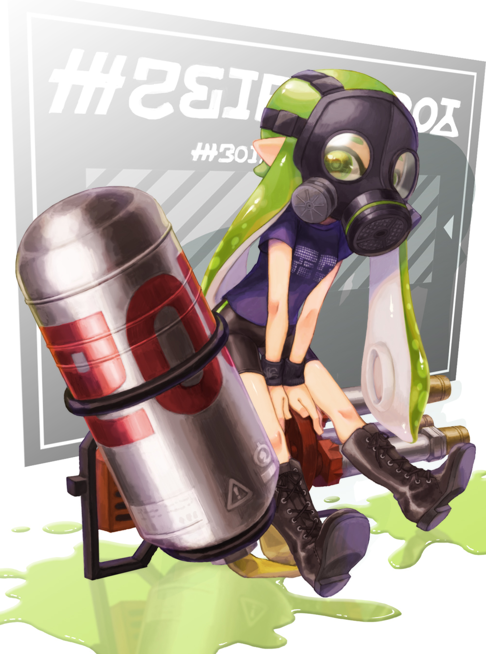 1girl bike_shorts black_footwear boots cross-laced_footwear domino_mask full_body gas_mask green_eyes green_hair highres hydra_splatling_(splatoon) inkling lace-up_boots long_hair mask paint paint_splatter pointy_ears purple_shirt reflection shirt short_sleeves single_vertical_stripe solo splatoon splatoon_(series) splatoon_2 suction_cups suzuhiro t-shirt tentacle_hair v_arms wristband
