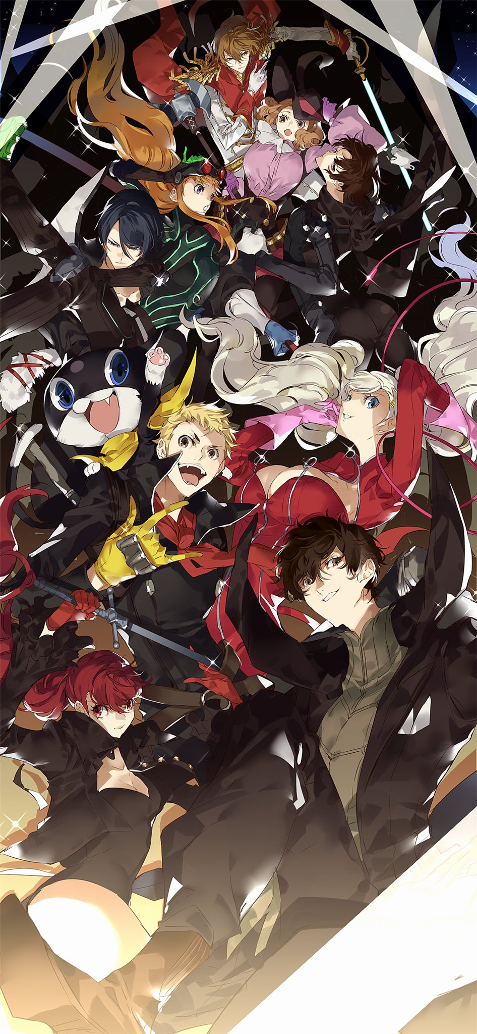 akechi_gorou amamiya_ren animal ayyataka biker_clothes black-framed_eyewear black_hair black_jacket black_legwear blonde_hair blue_eyes blue_hair blush bodysuit bow braid breasts brown_hair cape cat cat_mask closed_mouth cravat crown_braid domino_mask earrings elbow_gloves fake_tail fox_mask glasses gloves hair_between_eyes hair_ornament hat_feather headphones highres jacket jewelry kitagawa_yuusuke leotard long_hair looking_at_viewer male_focus mask mask_removed morgana_(persona_5) multiple_boys multiple_girls niijima_makoto okumura_haru orange_hair pants persona persona_5 persona_5_the_royal pink_gloves plaid plaid_pants ponytail purple_gloves red_bodysuit red_eyes red_gloves red_legwear redhead sakamoto_ryuuji sakura_futaba short_hair shoulder_spikes simple_background smile spikes stud_earrings sword tail takamaki_anne thigh-highs twintails weapon whip yoshizawa_kasumi zipper