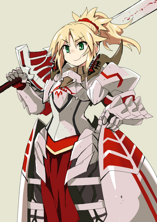 >:) 1girl armor blonde_hair braid breastplate clarent closed_mouth eyebrows_visible_through_hair fate/apocrypha fate_(series) french_braid gauntlets green_eyes hair_ornament hair_scrunchie holding holding_sword holding_weapon medium_hair mordred_(fate) mordred_(fate)_(all) n36hoko over_shoulder pauldrons ponytail red_scrunchie scrunchie solo sword v-shaped_eyebrows weapon weapon_over_shoulder