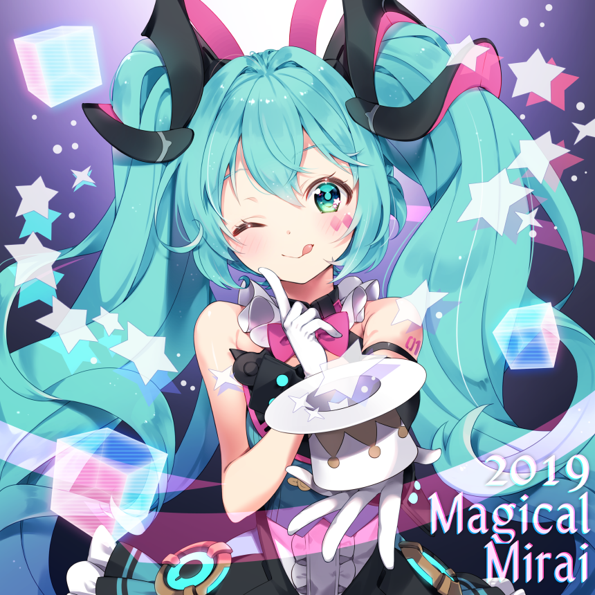 +_+ 1girl 2019 ;p arami_o_8 arm_at_side bare_arms bare_shoulders blue_eyes blue_hair blush choker commentary_request copyright_name cube curly_hair dark_background dated dress eyebrows_visible_through_hair facepaint finger_to_cheek frilled_dress frills gloves glowing gradient gradient_background hair_between_eyes hat hat_removed hatsune_miku headwear_removed long_hair looking_at_viewer magical_mirai_(vocaloid) mini_hat mini_top_hat number_tattoo one_eye_closed outstretched_hand pink_ribbon purple_background ribbon see-through shoulder_tattoo sleeveless sleeveless_dress solo star tattoo tongue tongue_out top_hat twintails upper_body very_long_hair vocaloid white_background white_gloves