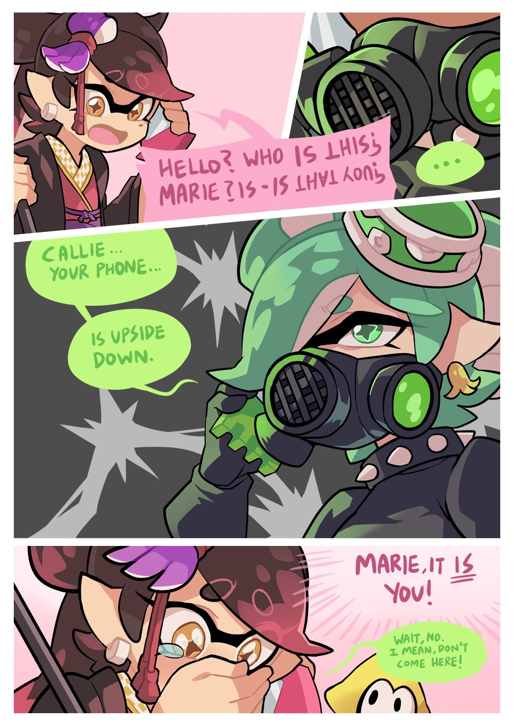 +_+ 3girls aori_(splatoon) collar commentary cousins domino_mask earrings english_text food food_on_head gas_mask gloves green_eyes green_hair highres holding holding_umbrella hotaru_(splatoon) japanese_clothes jewelry kimono layered_clothing layered_kimono long_hair long_sleeves mask mole mole_under_eye multiple_girls obi object_on_head open_mouth oriental_umbrella pointy_ears role_reversal sash short_hair spiked_collar spikes splatoon splatoon_(series) splatoon_2 squid squidbeak_splatoon standing sushi tentacle_hair umbrella wong_ying_chee