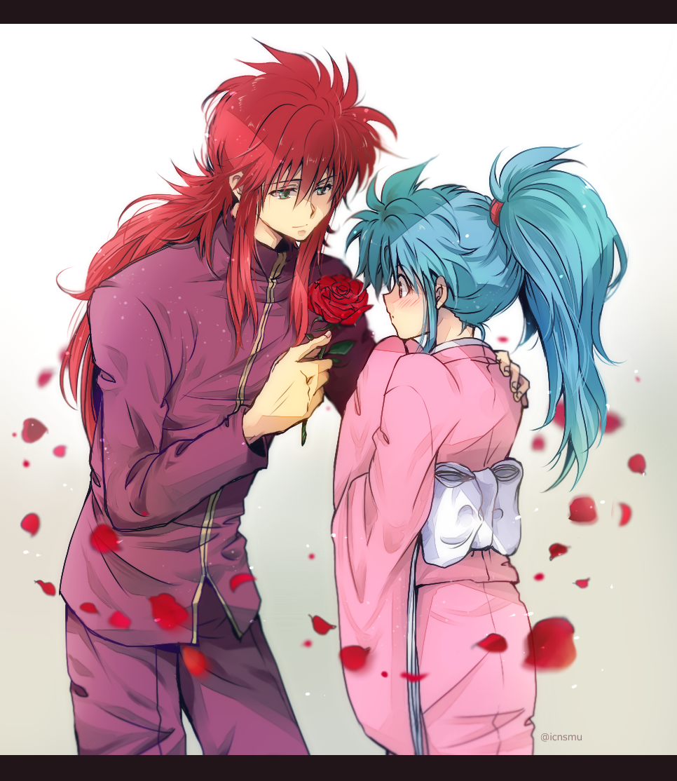 1boy 1girl blue_hair blush botan_(yuu_yuu_hakusho) closed_mouth commentary_request dress hetero japanese_clothes kimono kurama long_hair nagisa-a ponytail simple_background smile violet_eyes yuu_yuu_hakusho