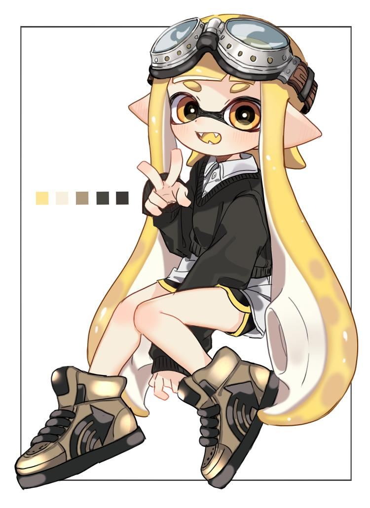 1girl arm_between_legs bangs black_border black_shorts black_sweater blonde_hair blunt_bangs border brown_footwear collared_shirt color_guide domino_mask fangs full_body goggles goggles_on_head gym_shorts high_tops inkling light_blush long_hair long_sleeves looking_at_viewer maco_spl mask open_mouth pointy_ears shirt short_shorts shorts single_vertical_stripe sitting smile splatoon splatoon_(series) splatoon_2 straight-laced_footwear sweater tentacle_hair v v-shaped_eyebrows very_long_hair white_background white_shirt yellow_eyes yellow_tongue