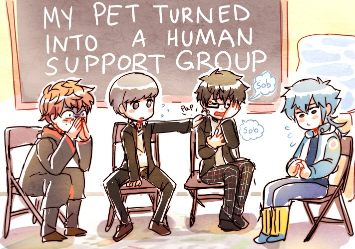 4boys amamiya_ren bangs black-framed_eyewear black_footwear black_hair blush_stickers brown_footwear chair chalkboard commentary crossover crying curly_hair dramatical_murder english_commentary english_text fingers_together flying_sweatdrops folding_chair freckles glasses harry_potter kataro long_sleeves multiple_boys narukami_yuu open_mouth pants persona persona_4 persona_5 persona_5_the_royal redhead ron_weasley semi-rimless_eyewear seragaki_aoba shoes short_hair silver_hair sitting traumatized under-rim_eyewear wavy_hair