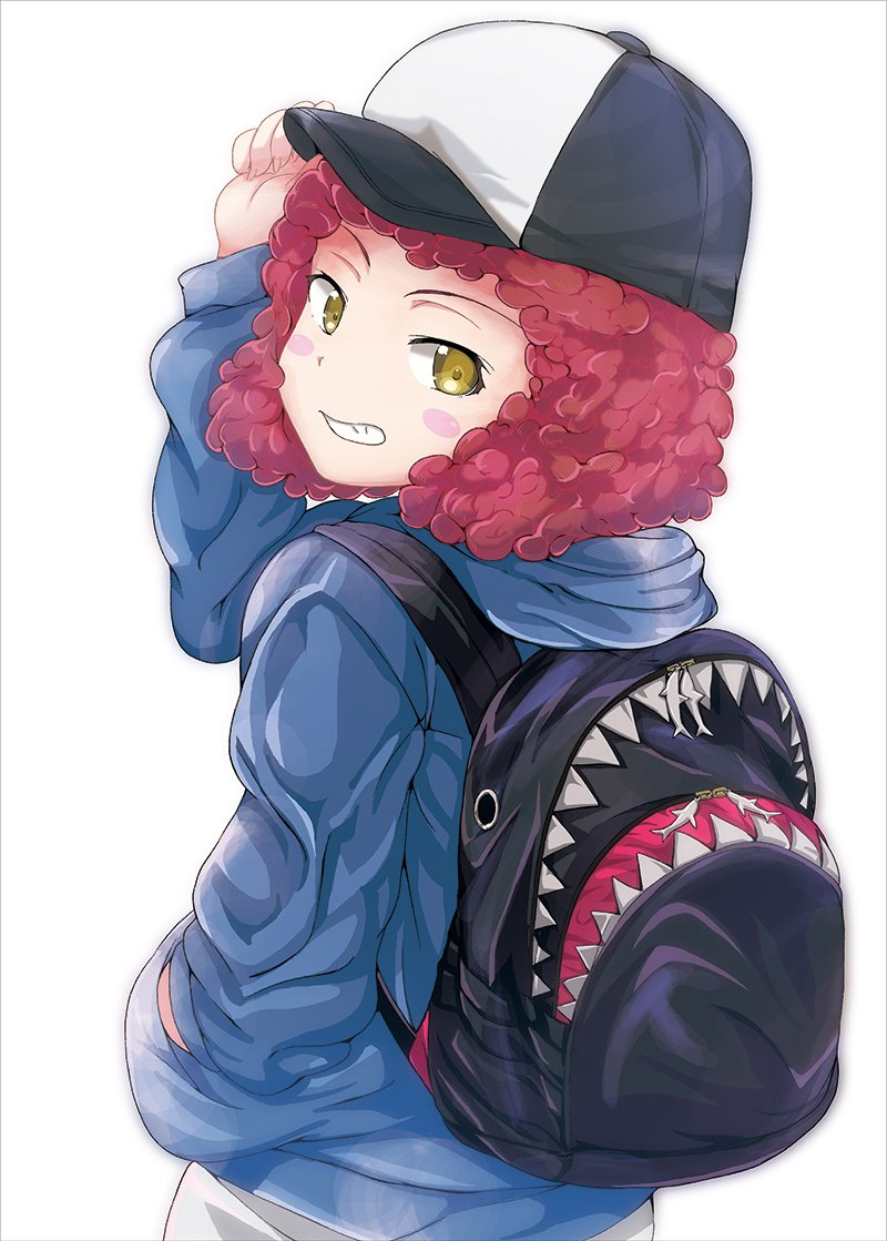 1girl adjusting_headwear backpack bag baseball_cap black_headwear blue_shirt blush_stickers brown_eyes casual commentary curly_hair from_behind girls_und_panzer grin hand_in_pocket hat hood hoodie long_sleeves looking_at_viewer looking_back redhead rum_(girls_und_panzer) shark shibagami shirt short_hair simple_background smile solo standing upper_body white_background