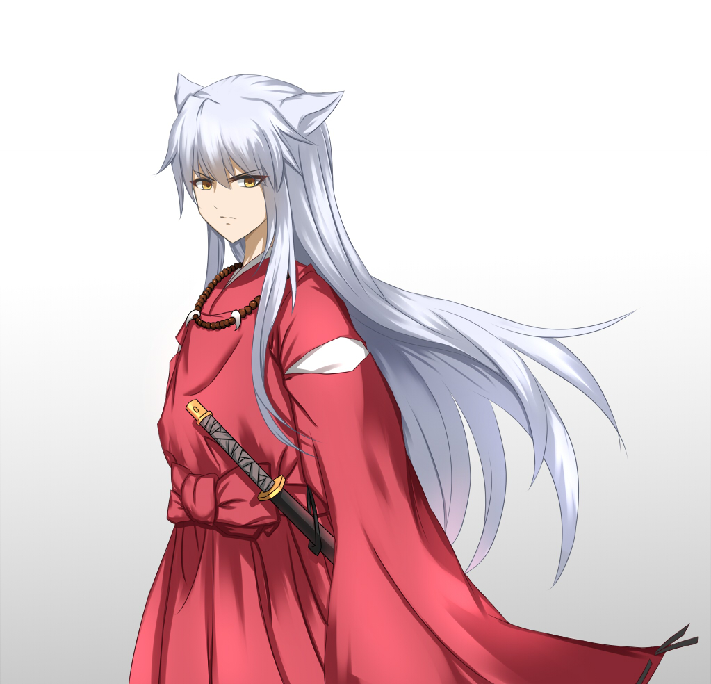 1girl animal_ears brown_eyes dog_ears floating_hair gradient gradient_background grey_background hair_between_eyes inuyasha inuyasha_(character) japanese_clothes kimono long_hair looking_at_viewer red_kimono roi_(liu_tian) sheath sheathed silver_hair solo standing sword v-shaped_eyebrows very_long_hair weapon white_background