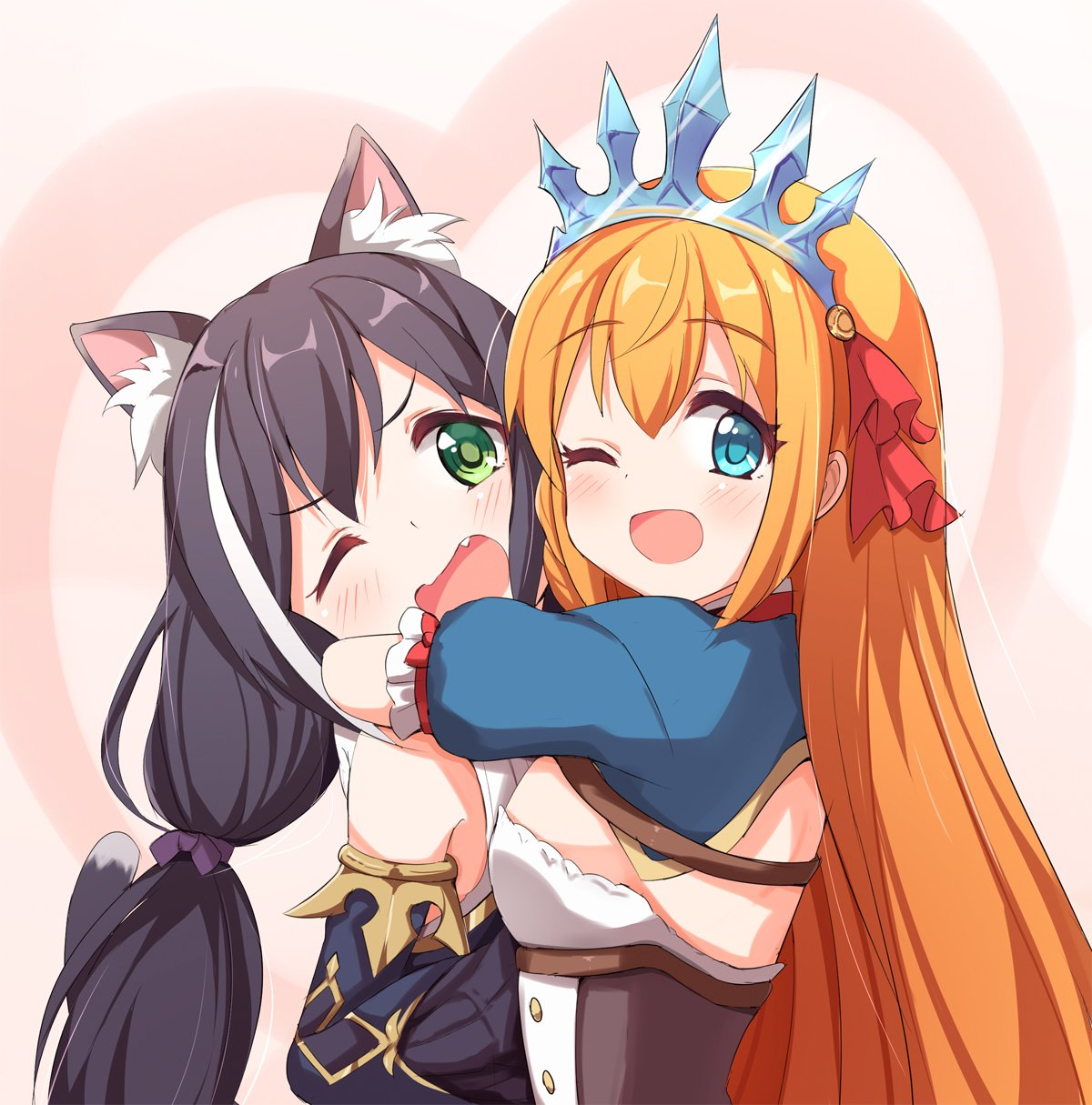 2girls ;d ame. animal_ear_fluff animal_ears bangs bare_shoulders black_hair blue_eyes blue_sleeves blush breasts brown_hair cat_ears commentary_request detached_sleeves eyebrows_visible_through_hair fang green_eyes hair_between_eyes heart highres hug kyaru_(princess_connect) long_hair long_sleeves multicolored_hair multiple_girls one_eye_closed open_mouth pecorine princess_connect! princess_connect!_re:dive puffy_short_sleeves puffy_sleeves short_sleeves small_breasts smile streaked_hair tiara very_long_hair white_hair