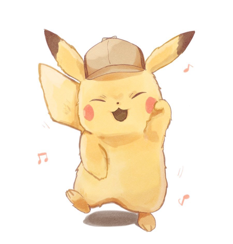 blush_stickers closed_mouth commentary creature creatures_(company) dancing deerstalker detective_pikachu detective_pikachu_(movie) detective_pikachu_(series) eighth_note full_body game_freak gen_1_pokemon hat mei_(maysroom) musical_note nintendo no_humans open_mouth pikachu pokemon pokemon_(creature) simple_background sixteenth_note smile solo white_background