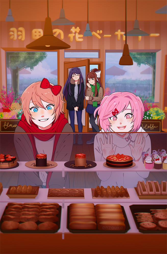 4girls :d against_glass bakery black_jacket black_legwear blue_eyes blue_sky blush bow bread brown_hair cake closed_eyes closed_mouth cookie croissant cupcake denim doki_doki_literature_club enzouke flower_pot food fur-trimmed_jacket fur_trim green_eyes green_scarf grey_jacket hair_bow hair_intakes hair_ornament hairclip indoors jacket jeans lamp leaning_back long_hair monika_(doki_doki_literature_club) multiple_girls natsuki_(doki_doki_literature_club) open_mouth orange_hair pants pantyhose pink_eyes red_bow red_scarf sayori_(doki_doki_literature_club) scarf shirt shop short_hair sky smile sweater tree two_side_up umbrella white_bow white_shirt white_sweater wooden_floor yuri_(doki_doki_literature_club)