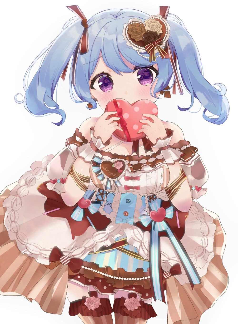 1girl alternate_hairstyle arm_ribbon bang_dream! bangs black_flower blue_hair blue_ribbon blush box brown_flower brown_ribbon center_frills covering_mouth detached_sleeves dress earrings flower frilled_dress frills gift hair_flower hair_ornament hair_ribbon heart heart-shaped_box heart_hair_ornament highres holding holding_gift jewelry lolita_fashion long_hair looking_at_viewer matsubara_kanon overskirt ribbon simple_background solo sweet_lolita thigh-highs tsubaki_kino twintails valentine violet_eyes white_background white_flower wrist_cuffs