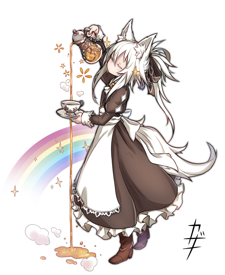 1girl animal_ear_fluff animal_ears apron black_dress boots bow closed_eyes commentary_request cup decantering dress failure frilled_dress frills full_body hair_bow kazana_(sakuto) long_sleeves maid maid_apron maid_day original pitcher pouring puffy_sleeves rainbow saucer simple_background solo sparkle standing tail tea teacup white_background white_hair you're_doing_it_wrong