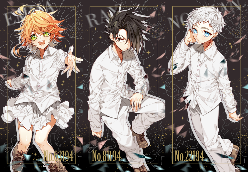 1girl 2boys :p ahoge black_hair blue_eyes boots character_name closed_mouth emma_(yakusoku_no_neverland) green_eyes hair_over_one_eye leather leather_boots long_sleeves looking_at_viewer multiple_boys neck_tattoo norman_(yakusoku_no_neverland) number_tattoo open_mouth orange_hair pants ray_(yakusoku_no_neverland) sapphire_4825 shirt short_hair skirt smile standing tattoo tongue tongue_out white_hair white_shirt yakusoku_no_neverland