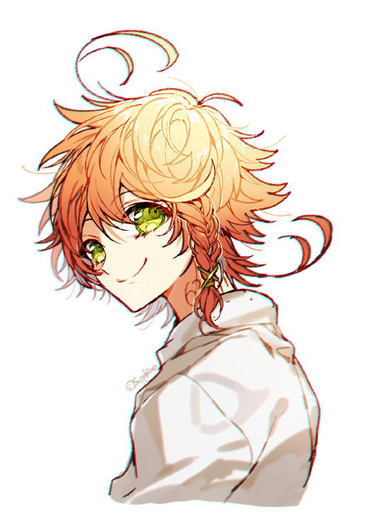 1girl ahoge artist_name bride closed_mouth emma_(yakusoku_no_neverland) green_eyes hair_ribbon looking_at_viewer neck_tattoo number_tattoo orange_hair ribbon sapphire_4825 shirt short_hair simple_background smile solo tattoo white_background white_shirt yakusoku_no_neverland