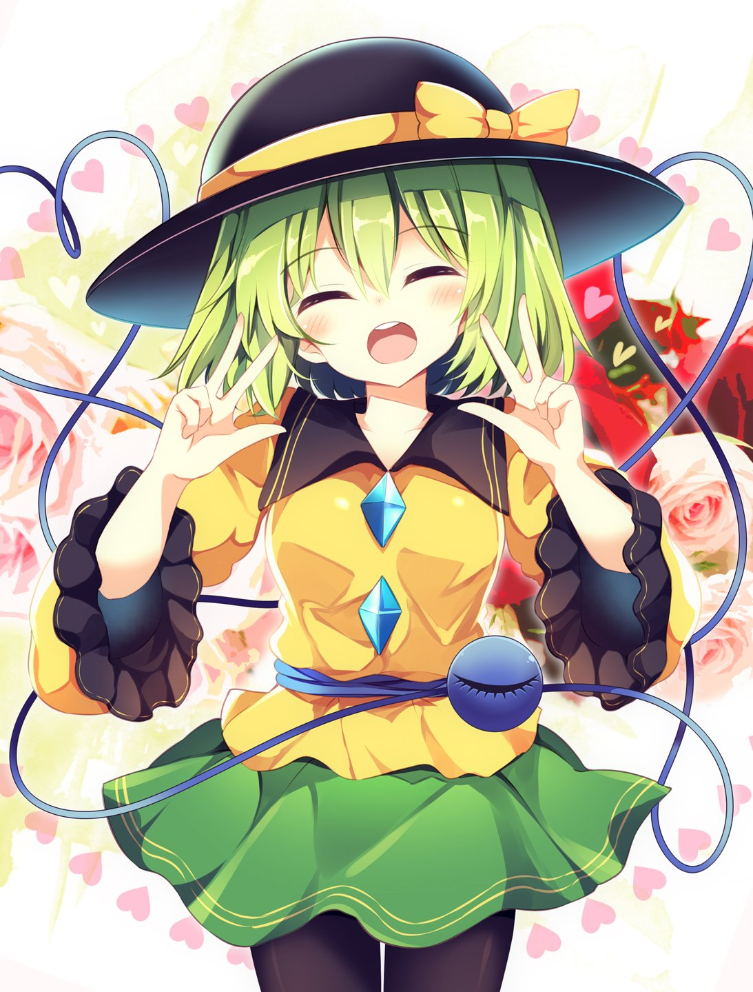 1girl :o ^_^ black_headwear black_legwear blush bow breasts closed_eyes closed_eyes commentary_request cowboy_shot double_w flower frilled_sleeves frills green_hair green_skirt hands_up hat hat_bow heart heart_of_string highres koishi_day komeiji_koishi long_sleeves looking_at_viewer maturiuta_sorato medium_breasts miniskirt open_mouth pantyhose pink_flower pink_rose red_flower red_rose rose shirt short_hair skirt solo standing third_eye touhou w white_background wide_sleeves yellow_bow yellow_shirt