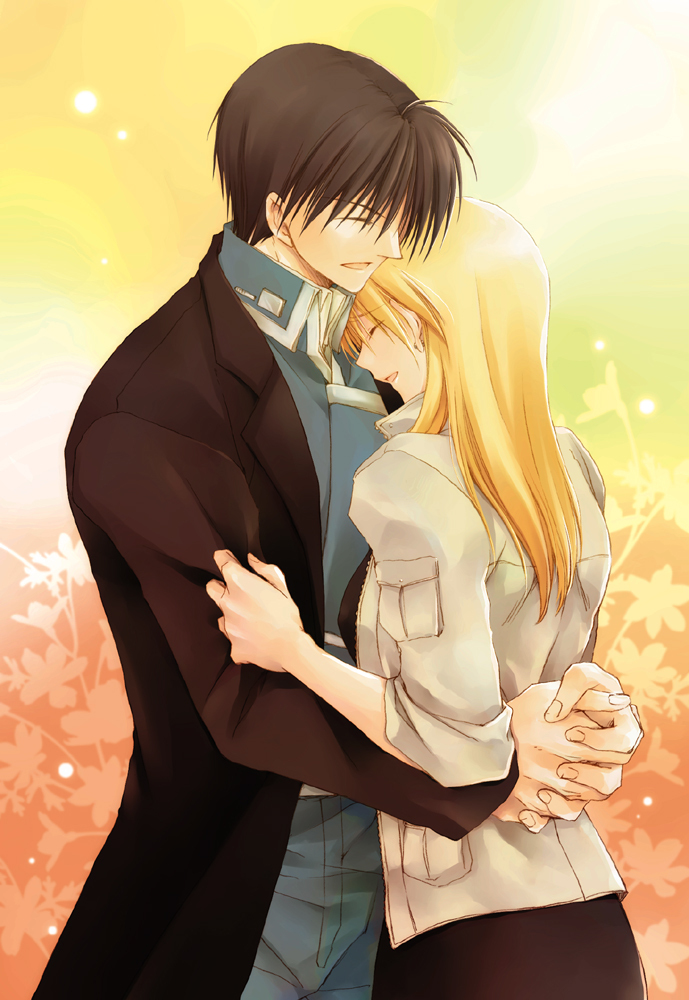 1boy 1girl :d black_coat black_hair blonde_hair blue_jacket blue_pants closed_eyes coat couple fullmetal_alchemist grey_jacket hands_clasped hug jacket long_hair military_jacket open_clothes open_coat open_mouth own_hands_together pants riza_hawkeye roy_mustang sleeves_rolled_up smile standing takafuji_yuna yellow_background