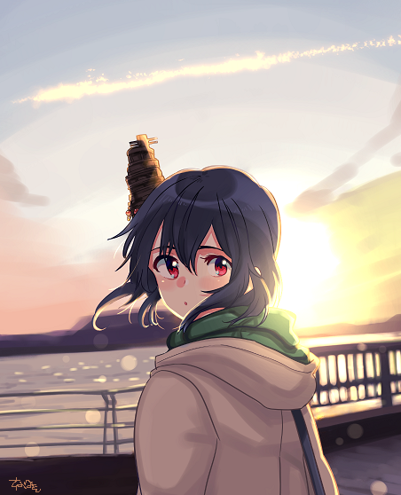 1girl alternate_costume black_hair coat from_behind gradient_sky hood hooded_coat hoodie kantai_collection looking_back mountain ocean railing red_eyes sagamiso short_hair signature sky solo sun sunset upper_body yamashiro_(kantai_collection)