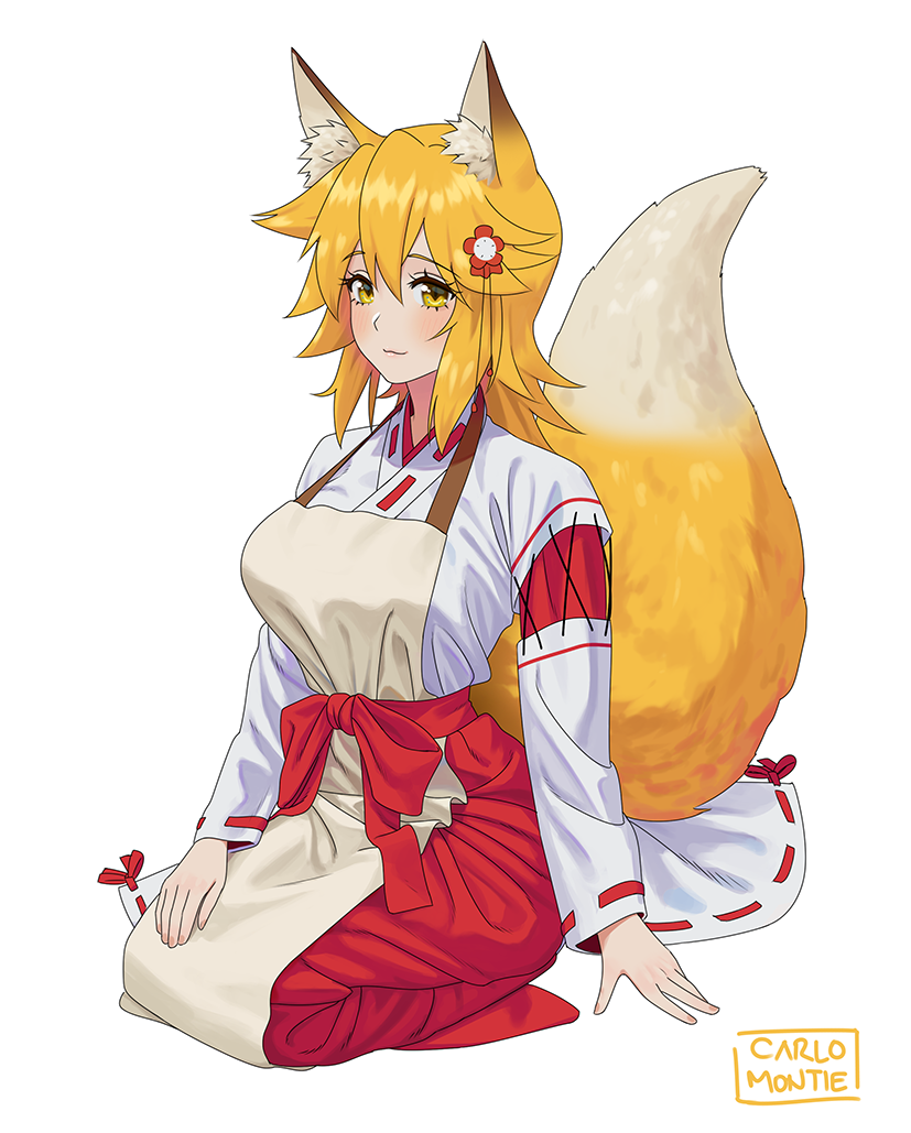 1girl animal_ear_fluff animal_ears apron artist_name blonde_hair blush carlo_montie fox_ears fox_tail full_body hair_ornament ribbon-trimmed_sleeves ribbon_trim seiza senko_(sewayaki_kitsune_no_senko-san) sewayaki_kitsune_no_senko-san simple_background sitting solo tail white_background yellow_eyes