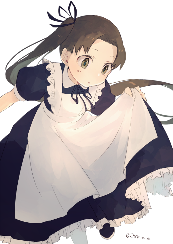 1girl 8ne_(nitika127) alternate_costume apron ayanami_(kantai_collection) black_dress black_ribbon brown_eyes brown_hair dress enmaided frilled_apron frilled_dress frills hair_ribbon kantai_collection leaning_forward long_hair maid puffy_short_sleeves puffy_sleeves ribbon short_sleeves side_ponytail simple_background solo standing standing_on_one_leg twitter_username white_apron white_background