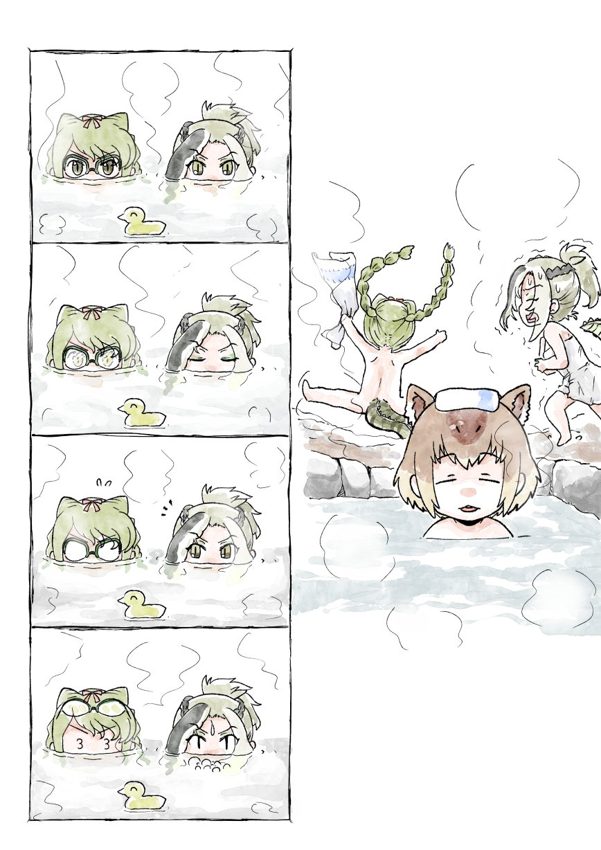 3_3 3girls 4koma braid brown_hair capybara_(kemono_friends) comic commentary_request crocodile_tail eyewear_on_head fogged_glasses glasses green_hair highres kemono_friends long_hair multiple_girls murakami_kou_(raye) nude onsen partially_submerged rubber_duck saltwater_crocodile_(kemono_friends) short_hair silent_comic slit_pupils spectacled_caiman_(kemono_friends) steam towel towel_on_head twin_braids water