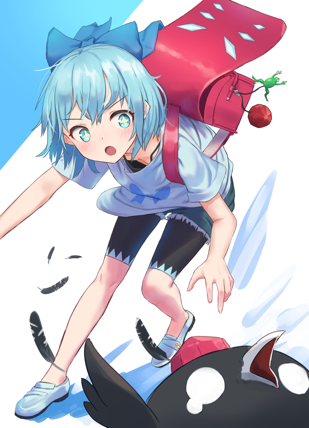 +_+ 1girl :o alternate_costume backpack bag bangs bent_over bike_shorts bike_shorts_under_shorts bird black_shorts blue_background blue_bow blue_eyes blue_footwear blue_hair blue_shirt blush bow casual cirno commentary contemporary crow cutoffs denim denim_shorts downblouse eyebrows_visible_through_hair feathers hair_bow hat highres loafers looking_at_another o_o open_mouth roke_(taikodon) shameimaru_aya_(crow) shirt shoes short_hair short_shorts short_sleeves shorts solo standing t-shirt tears tokin_hat touhou two-tone_background v-shaped_eyebrows white_background