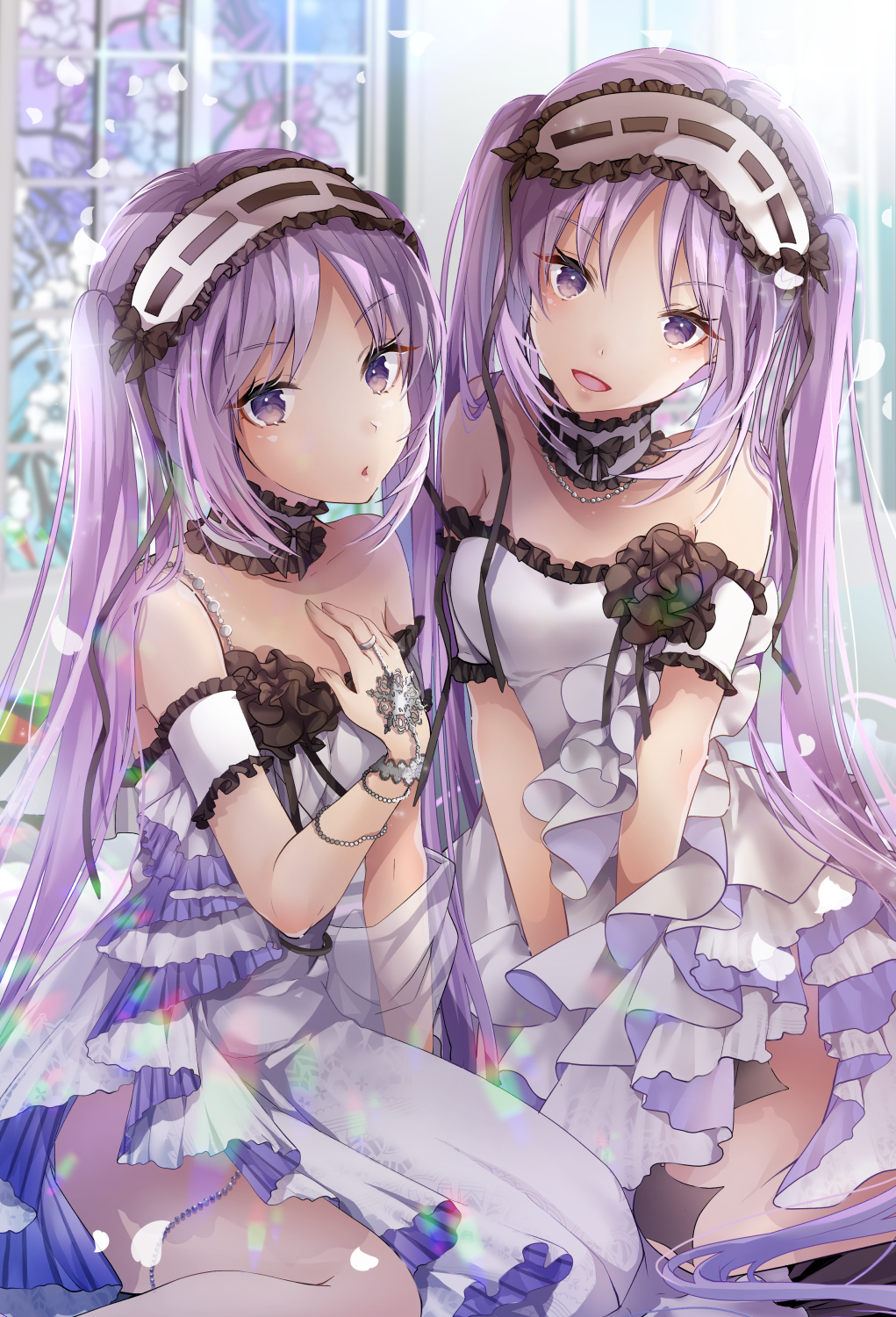 2girls akatsuki_hijiri bangs bare_shoulders blush breasts choker dress euryale eyebrows_visible_through_hair fate/grand_order fate/hollow_ataraxia fate_(series) hairband headdress highres jewelry lolita_hairband long_hair looking_at_viewer multiple_girls open_mouth purple_hair ribbon siblings sisters smile stheno strapless twins twintails very_long_hair violet_eyes white_dress