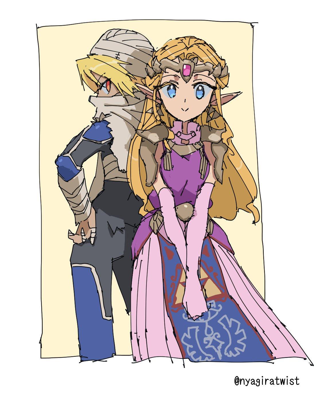 2girls blonde_hair blue_eyes dual_persona highres multiple_girls nintendo nyagiratwist princess_zelda red_eyes sheik the_legend_of_zelda the_legend_of_zelda:_ocarina_of_time