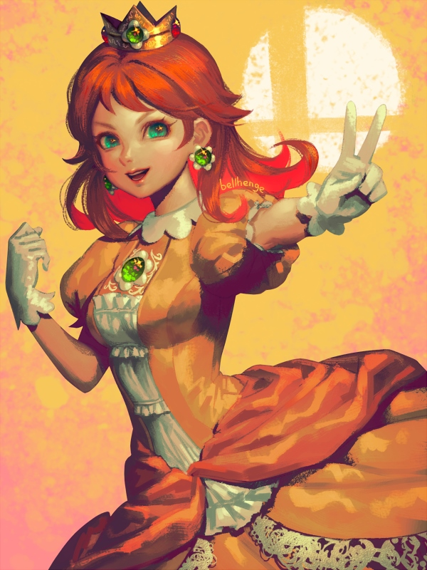 1girl aqua_eyes artist_name bangs bellhenge breasts brown_hair cowboy_shot crown dress earrings flower_earrings gloves jewelry long_hair mario_(series) open_mouth orange_background princess_daisy puffy_short_sleeves puffy_sleeves short_sleeves smash_ball smile solo super_smash_bros. v white_gloves yellow_dress