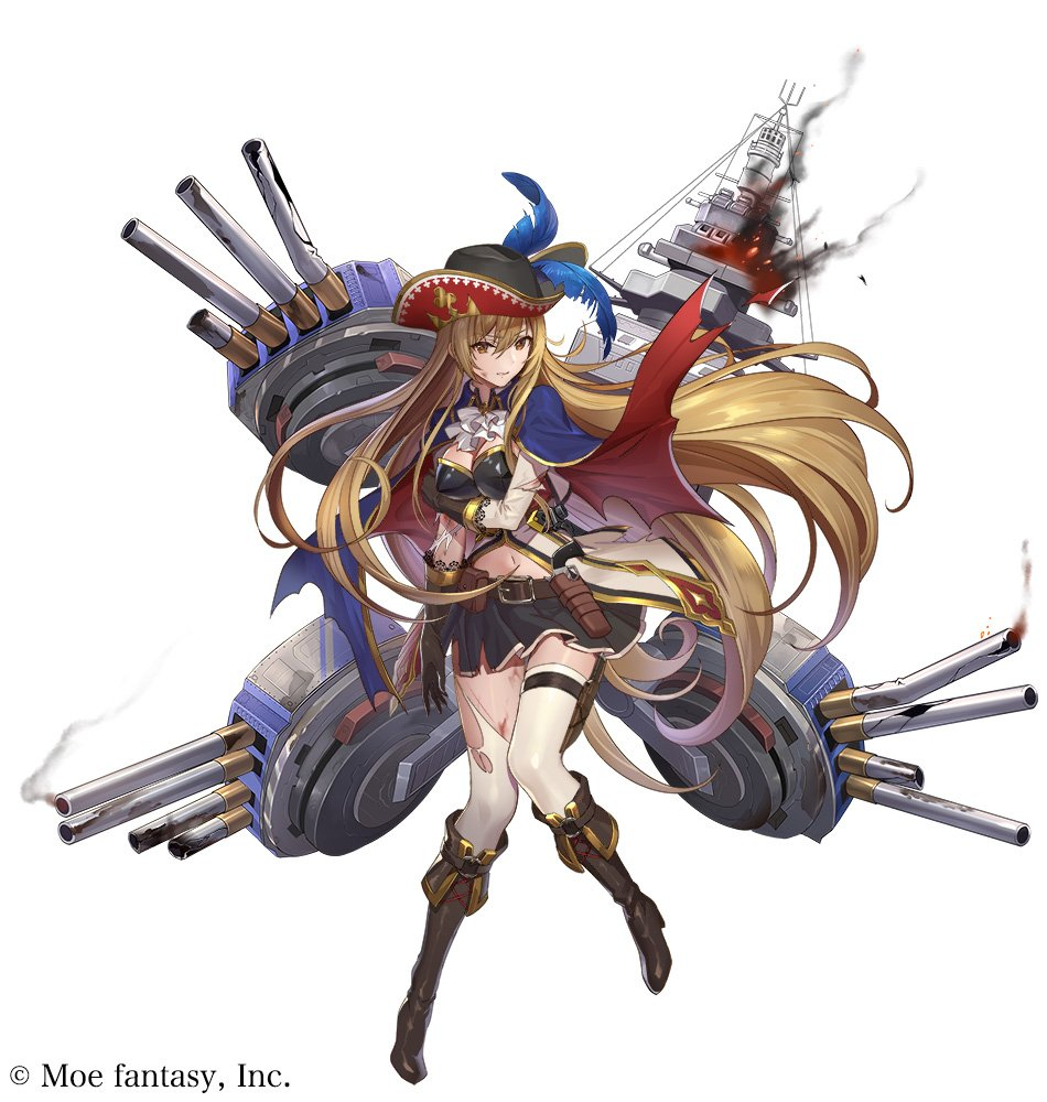 1girl alsace_(steelblue_mirage) bangs black_footwear black_gloves black_skirt blue_feathers boots breasts broken broken_weapon brown_eyes brown_hair bruise_on_face cannon commentary company_name feathers fire frown gloves grabbing_own_arm gun hat holster long_hair navel official_art rigging simple_background skirt smoke solo steelblue_mirage teffish thigh-highs torn_clothes torn_legwear torn_sleeves turret uniform very_long_hair weapon white_background white_legwear