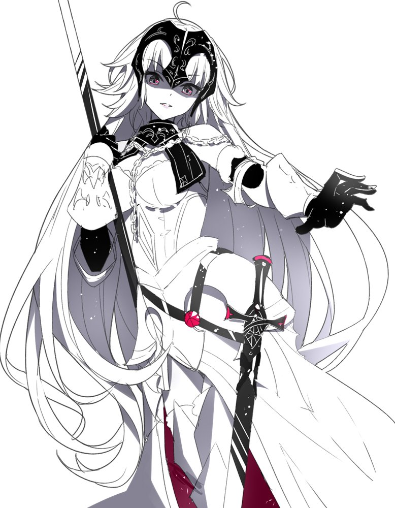 1girl ahoge armor armored_dress bangs bare_shoulders breasts chain commentary_request eyebrows_visible_through_hair fate/grand_order fate_(series) gloves grey_eyes head_tilt headpiece jeanne_d'arc_(alter)_(fate) jeanne_d'arc_(fate)_(all) long_hair medium_breasts monochrome parted_lips ririko_(zhuoyandesailaer) sheath sheathed simple_background solo spot_color sword v-shaped_eyebrows vambraces very_long_hair weapon white_background