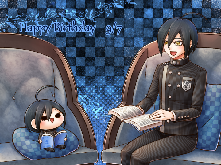 1boy :d ahoge black_hair black_jacket black_pants blue_background book character_doll checkered checkered_background checkered_pillow danganronpa hair_between_eyes happy_birthday holding jacket long_sleeves male_focus new_danganronpa_v3 open_book open_mouth pants saihara_shuuichi short_hair sitting smile solo striped vertical-striped_jacket vertical-striped_pants vertical_stripes yellow_eyes yumaru_(marumarumaru)