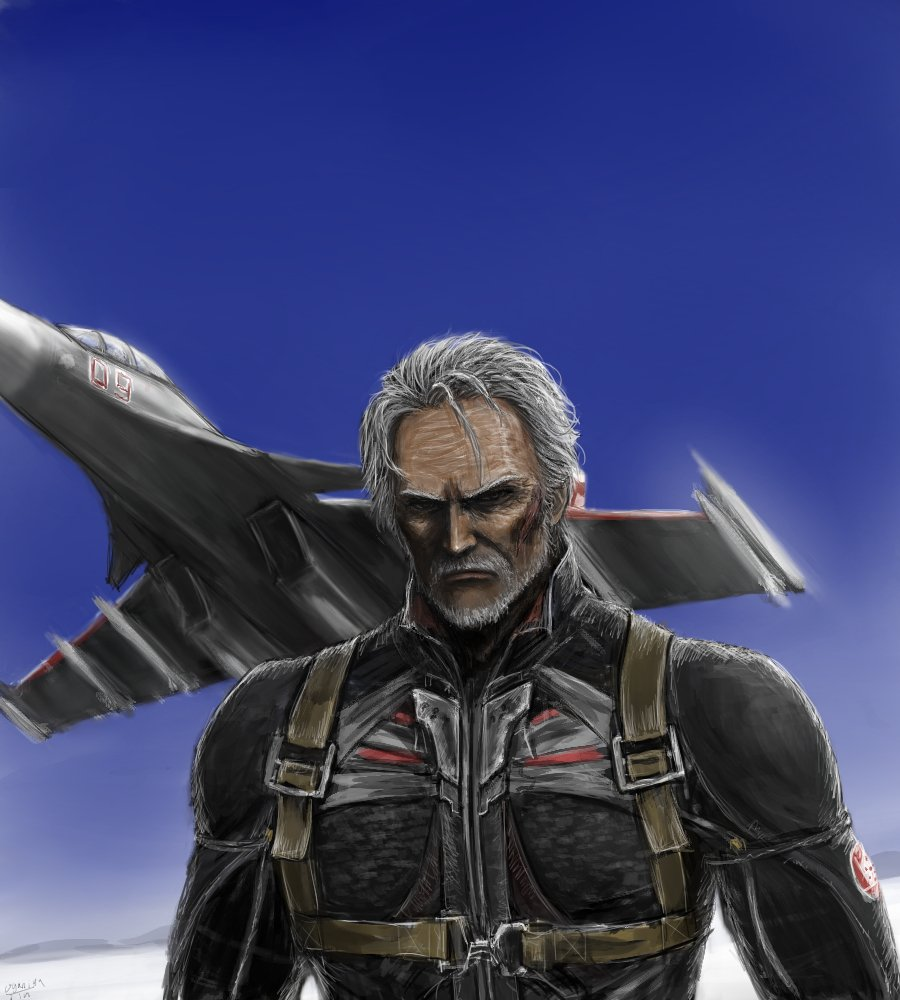 1boy ace_combat ace_combat_7 aircraft airplane beard blue_sky commentary_request emblem facial_hair facial_scar fighter_jet jet looking_at_viewer mihaly_a_shilage military military_vehicle missile mustache ogamiya_jin old_man patch pilot pilot_suit scar silver_hair sky strap su-30