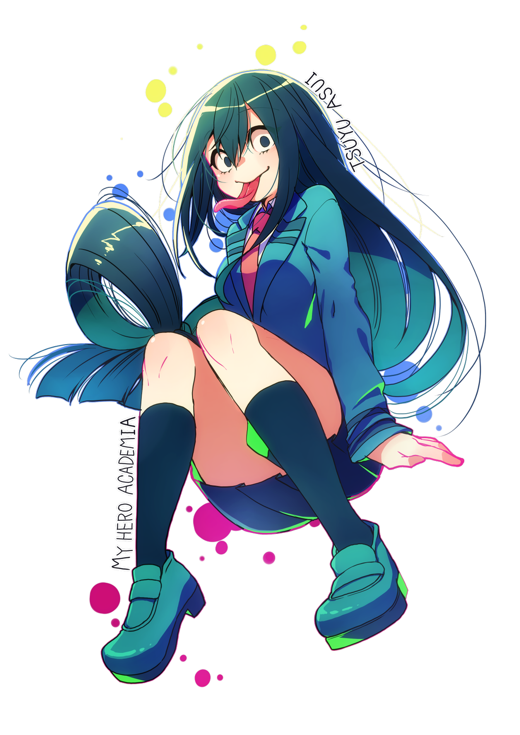 1girl aqua_footwear aqua_jacket asui_tsuyu bangs black_eyes black_hair black_legwear black_skirt boku_no_hero_academia character_name collared_shirt copyright_name eyebrows_visible_through_hair full_body hair_between_eyes hair_rings highres jacket loafers long_hair long_sleeves long_tongue looking_at_viewer low-tied_long_hair necktie pleated_skirt red_neckwear school_uniform shirt shoes skirt smile socks solo tongue tongue_out transparent_background u.a._school_uniform white_shirt xxhachi_coxx