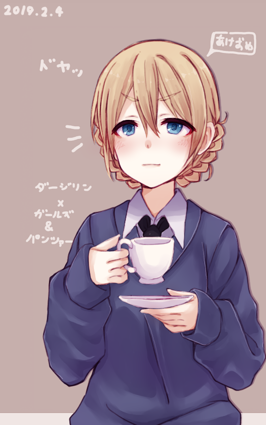 1girl akeome bangs black_neckwear blonde_hair blue_eyes blue_sweater blush braid character_name closed_mouth commentary copyright_name cup darjeeling dated dress_shirt girls_und_panzer grey_background hachikuji happy_new_year holding holding_cup holding_saucer light_smile long_sleeves looking_at_viewer necktie new_year notice_lines saucer school_uniform shirt short_hair solo st._gloriana's_school_uniform sweater teacup tied_hair translated twin_braids upper_body v-neck white_shirt wing_collar