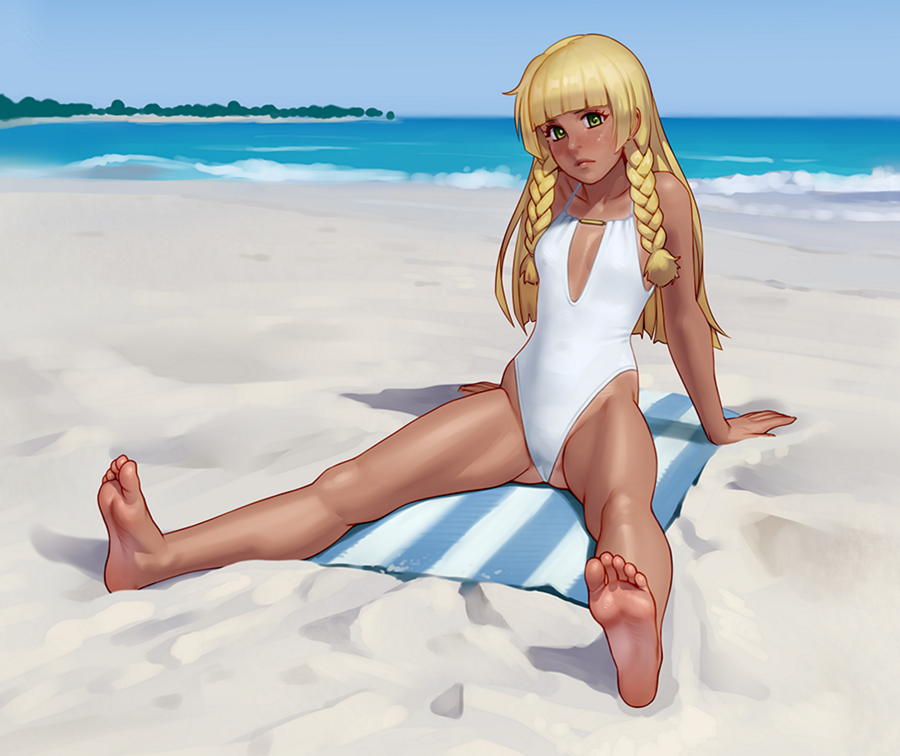 1girl arm_support ass_visible_through_thighs bangs barefoot beach beach_towel blonde_hair blue_sky blunt_bangs blush braid breasts casual_one-piece_swimsuit center_opening cleavage_cutout closed_mouth collarbone covered_navel dark_skin day feet frown full_body green_eyes head_tilt highleg highleg_swimsuit horizon kairuhentai leaning_back legs lillie_(pokemon) long_hair looking_at_viewer ocean one-piece_swimsuit pokemon pokemon_(game) pokemon_sm sand shadow side_braid sitting sky small_breasts soles source_request spread_legs straight_hair striped striped_towel swimsuit tan toes towel twin_braids water waves white_swimsuit