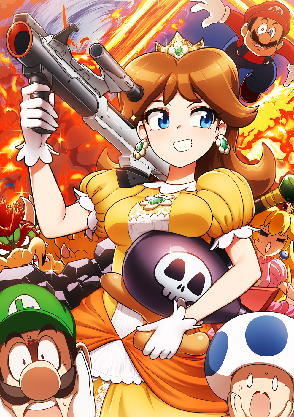 2girls 4boys animal baseball_cap blonde_hair blue_eyes bomber_(kirby) bowser breast_rest breasts brown_hair closed_eyes club commentary_request crown dragon dress earrings explosion facial_hair fire flipped_hair flower_earrings glint gloves grin hands_on_own_cheeks hands_on_own_face hat highres holding holding_weapon hoshi_no_kirby human jewelry kirby_(series) long_hair luigi luigi's_mansion mario mario_(series) mario_kart mario_party mario_tennis medium_breasts monster multiple_boys multiple_girls mustache nintendo nintendo_ead o_o open_mouth overalls pink_dress plumber princess princess_daisy princess_peach puffy_short_sleeves puffy_sleeves rocket_launcher scared short_sleeves skull_print smile sparkle super_mario_bros. super_mario_bros._(anime) super_mario_land super_smash_bros. super_smash_bros._ultimate super_smash_bros_64 super_smash_bros_brawl super_smash_bros_melee sweat takahashi_umori toad turtle weapon white_gloves yellow_dress