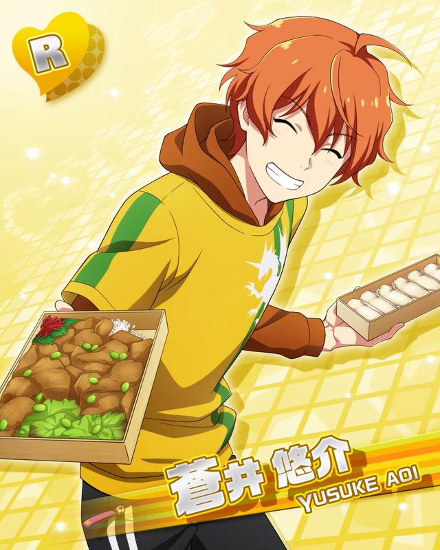 character_name closed_eyes idolmaster idolmaster_side-m jacket orange_hair short_hair smile yosuke_aoi