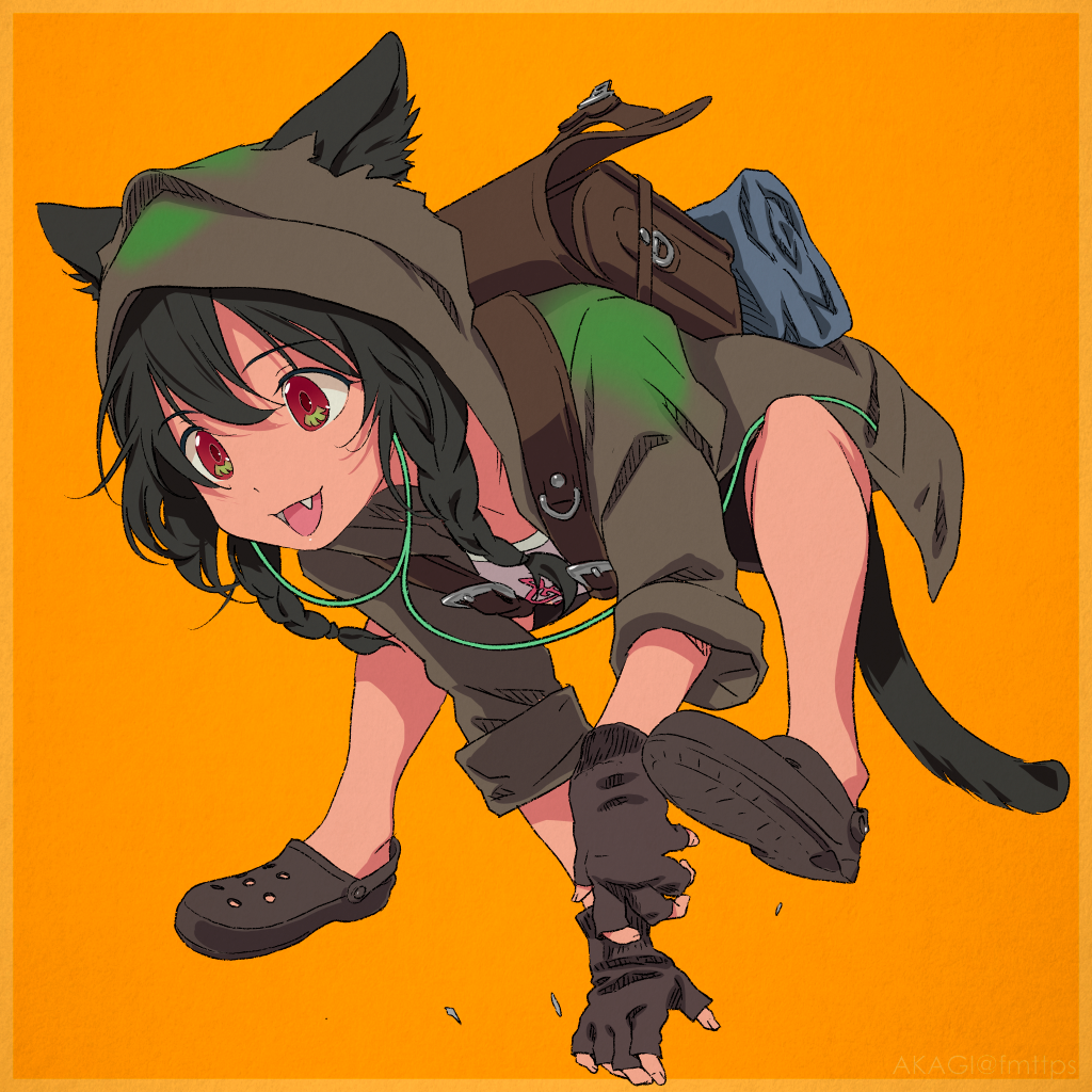 1girl akagi_(fmttps) all_fours animal_ears anosillus_ii artist_name backpack bag bangs black_footwear black_gloves black_hair braid cat_ears cat_tail commentary_request crocs dark_skin earphones ears_through_headwear eyebrows_visible_through_hair fangs fingerless_gloves gloves hood hood_up hooded_jacket jacket long_hair long_sleeves open_clothes open_mouth orange_background partial_commentary print_shirt randoseru red_eyes running sandals shirt sleeves_rolled_up smile ssss.gridman tail treble_clef twin_braids twitter_username white_shirt