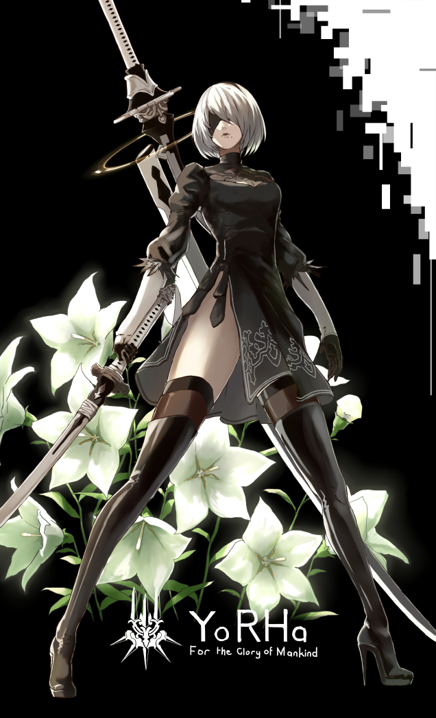 1girl black_background black_blindfold black_dress black_hairband blindfold boots breasts cleavage_cutout commentary_request covered_eyes dress feather-trimmed_sleeves flower gloves hairband high_heel_boots high_heels holding holding_sword holding_weapon juliet_sleeves katana leather leather_boots long_sleeves medium_breasts mole mole_under_mouth nier nier_(series) nier_automata puffy_sleeves silver_hair solo standing sword sword_behind_back thigh-highs thigh_boots thighhighs_under_boots vambraces virtuous_contract virtuous_treaty weapon yashiro_(silver_will) yorha_no._2_type_b