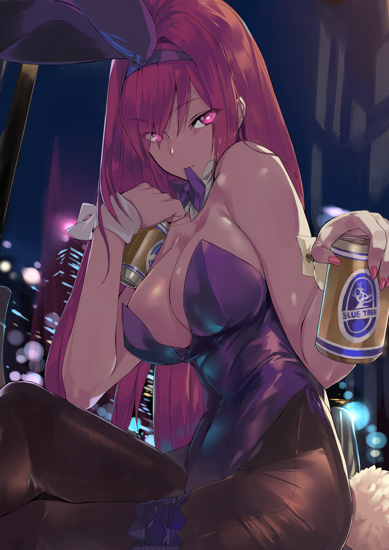 1girl animal_ears beer_can black_legwear bow bowtie breasts building bunnysuit can commentary_request crossed_legs detached_collar fate/grand_order fate_(series) feet_out_of_frame large_breasts leotard long_hair looking_at_viewer mouth_hold night ohland pantyhose purple_hair purple_leotard purple_neckwear rabbit_ears red_eyes scathach_(fate)_(all) scathach_(fate/grand_order) sitting solo strapless strapless_leotard wrist_cuffs