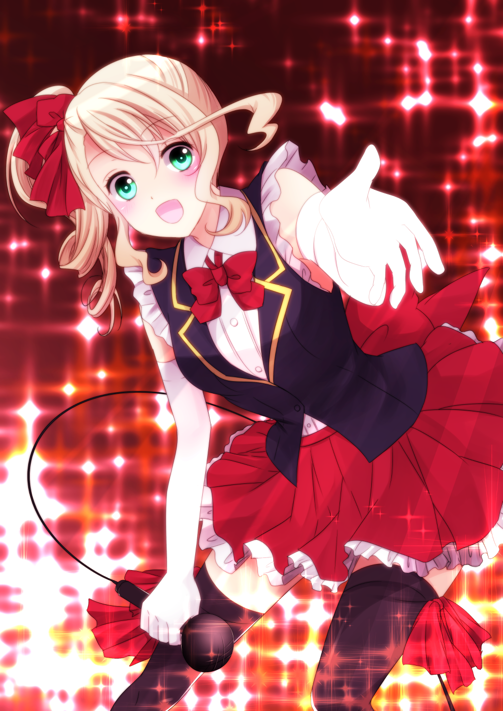 1girl :d alisha_diphda black_legwear blonde_hair bow bowtie dress_shirt eyebrows_visible_through_hair green_eyes hair_between_eyes highres holding holding_microphone leaning_forward long_hair looking_at_viewer microphone miniskirt open_mouth outstretched_arm pleated_skirt red_bow red_neckwear red_skirt sakuno_ririsu shirt side_ponytail skirt sleeveless sleeveless_shirt smile solo standing tales_of_(series) tales_of_zestiria thigh-highs white_shirt zettai_ryouiki