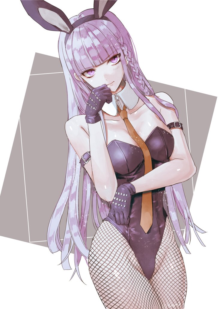 animal_ears braid breasts bunnysuit danganronpa danganronpa_1 fringe_trim gloves hand_on_own_face hands kirigiri_kyouko long_hair looking_at_viewer medium_breasts necktie purple_gloves purple_hair rabbit_ears red_neckwear sakuyu violet_eyes
