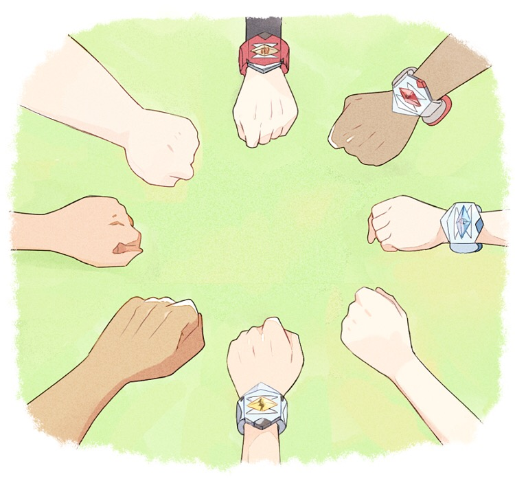 3girls 5boys annotated border bracelet circle_formation clenched_hand dark_skin dark_skinned_male gladio_(pokemon) green_background hands hau_(pokemon) jewelry kaki_(pokemon) lillie_(pokemon) long_sleeves mamane_(pokemon) mao_(pokemon) mei_(maysroom) multiple_boys multiple_girls pokemon pokemon_(anime) pokemon_sm_(anime) satoshi_(pokemon) simple_background suiren_(pokemon) white_border z-ring