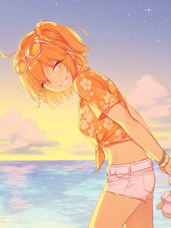 1girl 7dango7 ahoge bracelet eyewear_on_head fate/grand_order fate_(series) fujimaru_ritsuka_(female) hawaiian_shirt holding_footwear jewelry ocean orange_eyes orange_hair shirt shorts smile star_(sky) sunglasses sunset tan