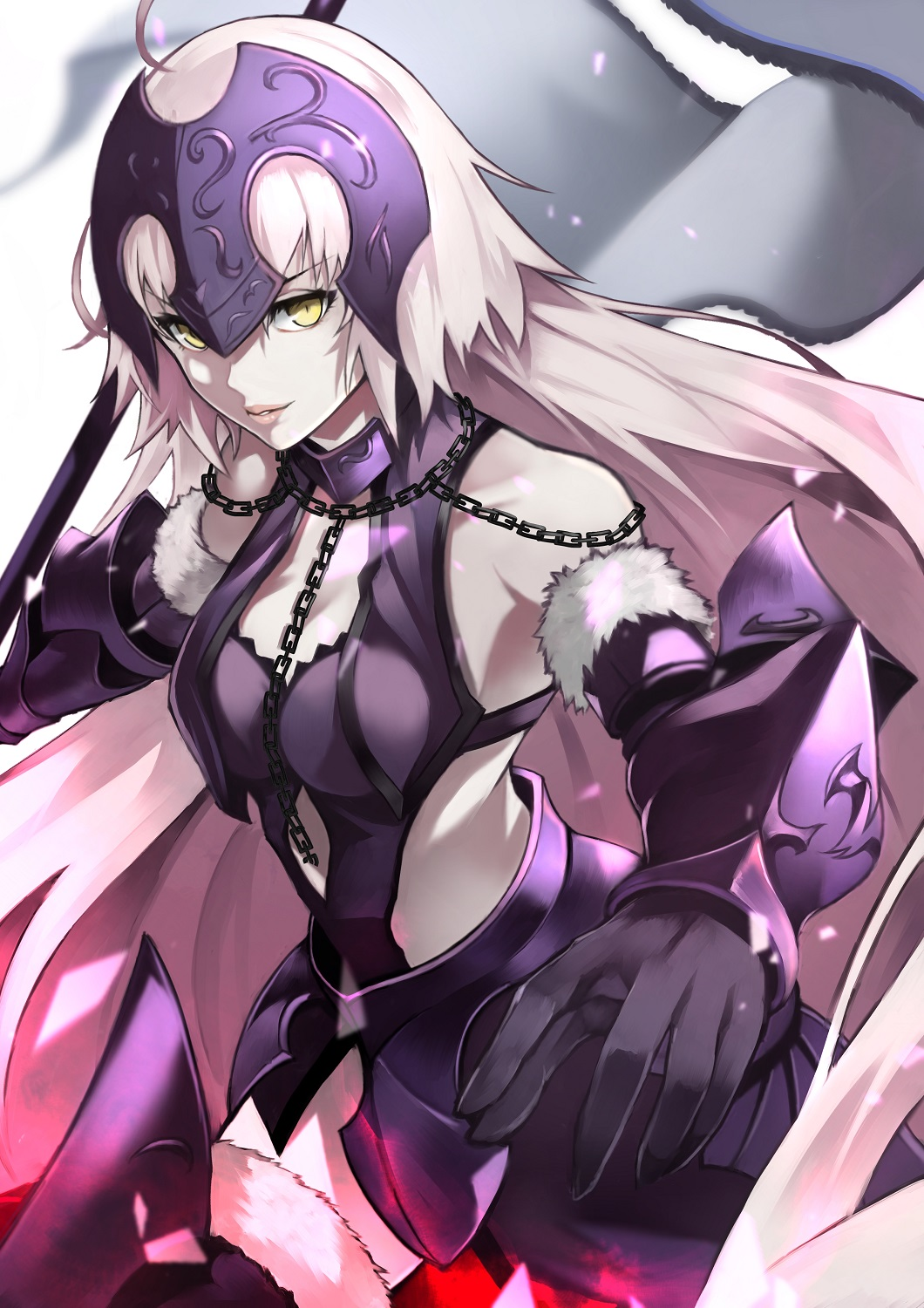 1girl 55level ahoge armor armored_dress bangs bare_shoulders breasts chain dress fate/grand_order fate_(series) faulds flag fur_trim gauntlets headpiece highres holding holding_flag jeanne_d'arc_(alter)_(fate) jeanne_d'arc_(fate)_(all) large_breasts long_hair looking_at_viewer pale_skin pink_lips purple_dress silver_hair thigh-highs very_long_hair yellow_eyes